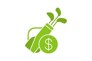 Golf equipment shop glyph icon