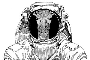 Camelopard, giraffe wearing space suit Wild animal astronaut Spaceman Galaxy exploration Hand drawn illustration for t-shirt