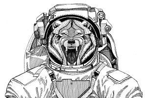 Wolf Dog Wild animal wearing space suit Wild animal astronaut Spaceman Galaxy exploration Hand drawn illustration for t-shirt