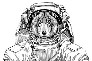 Wolf Dog wearing space suit Wild animal astronaut Spaceman Galaxy exploration Hand drawn illustration for t-shirt