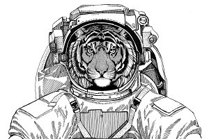 Wild tiger wearing space suit Wild animal astronaut Spaceman Galaxy exploration Hand drawn illustration for t-shirt