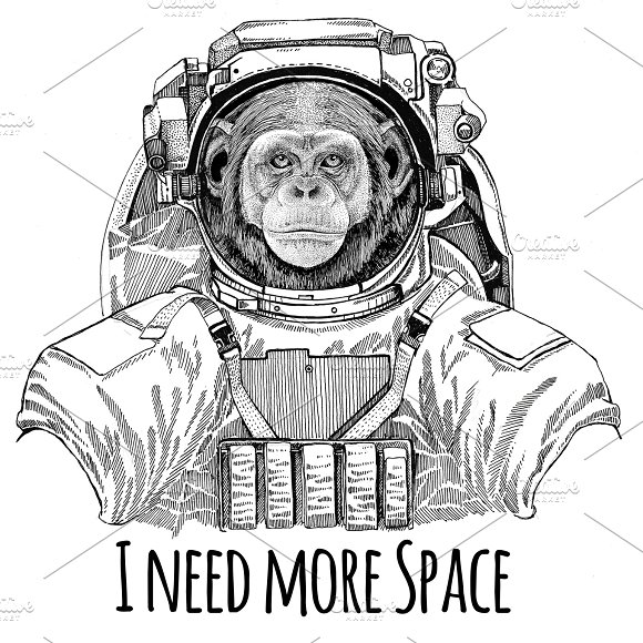 Chimpanzee Monkey Wearing Space Suit Wild Animal Astronaut Spaceman Galaxy Exploration Hand Drawn Illustration For T-shirt