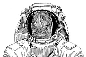 Rhinoceros, rhino wearing space suit Wild animal astronaut Spaceman Galaxy exploration Hand drawn illustration for t-shirt
