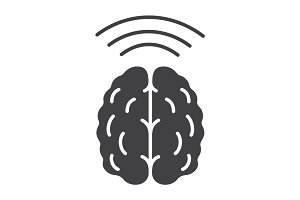 Brain waves glyph icon