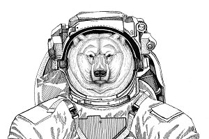 Polar bear wearing space suit Wild animal astronaut Spaceman Galaxy exploration Hand drawn illustration for t-shirt