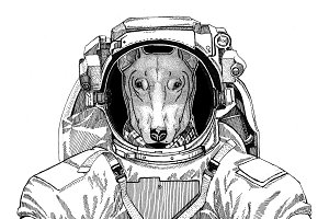 DOG for t-shirt design wearing space suit Wild animal astronaut Spaceman Galaxy exploration Hand drawn illustration for t-shirt