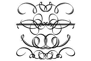 Black calligraphic elements