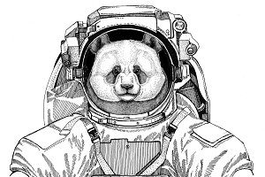 Panda bear, bamboo bear wearing space suit Wild animal astronaut Spaceman Galaxy exploration Hand drawn illustration for t-shirt