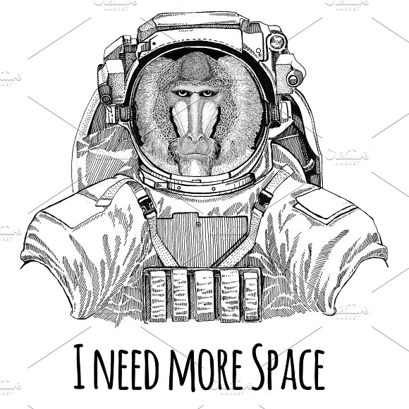 Monkey Baboon Dog-ape Ape Wearing Space Suit Wild Animal Astronaut Spaceman Galaxy Exploration Hand Drawn Illustration For T-shirt