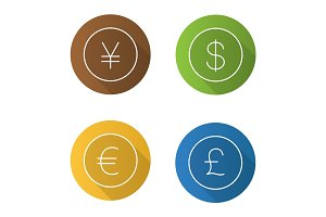 National currencies flat linear long shadow icons set