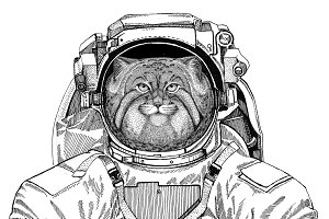 Wild cat Manul wearing space suit Wild animal astronaut Spaceman Galaxy exploration Hand drawn illustration for t-shirt