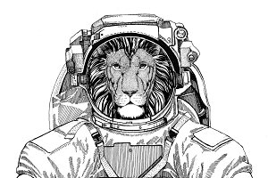 Wild Lion wearing space suit Wild animal astronaut Spaceman Galaxy exploration Hand drawn illustration for t-shirt