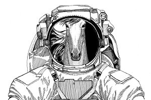 Horse, hoss, steed, courser wearing space suit Wild animal astronaut Spaceman Galaxy exploration Hand drawn illustration for t-shirt