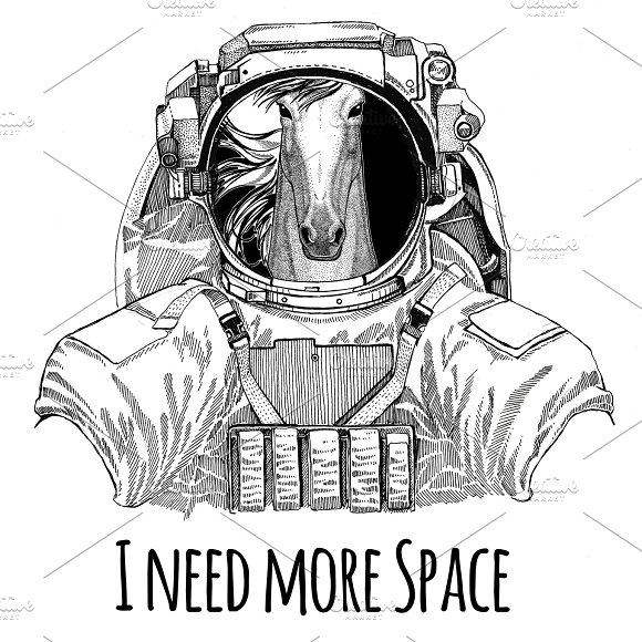 Horse Hoss Steed Courser Wearing Space Suit Wild Animal Astronaut Spaceman Galaxy Exploration Hand Drawn Illustration For T-shirt