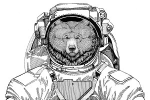 Grizzly bear Big wild bear wearing space suit Wild animal astronaut Spaceman Galaxy exploration Hand drawn illustration for t-shirt