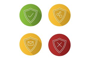 Protection shields flat linear long shadow icons set