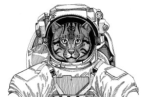Wild cat Fishing cat wearing space suit Wild animal astronaut Spaceman Galaxy exploration Hand drawn illustration for t-shirt