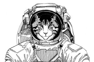 Image of domestic cat wearing space suit Wild animal astronaut Spaceman Galaxy exploration Hand drawn illustration for t-shirt
