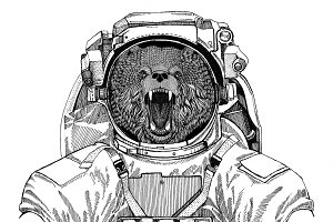 Brown bear Russian bear wearing space suit Wild animal astronaut Spaceman Galaxy exploration Hand drawn illustration for t-shirt