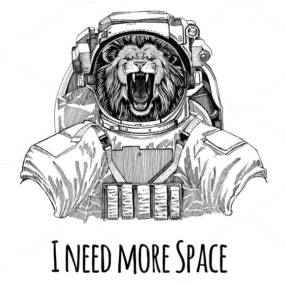 Lion Wearing Space Suit Wild Animal Astronaut Spaceman Galaxy Exploration Hand Drawn Illustration For T-shirt