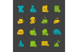 Commercial items glyph color icon set
