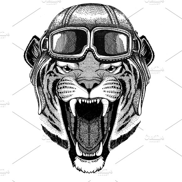Wild tiger Aviator, biker, motorcycle Hand drawn illustration for tattoo, emblem, badge, logo, patch
