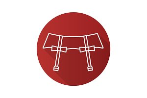 Underwear garters flat linear long shadow icon