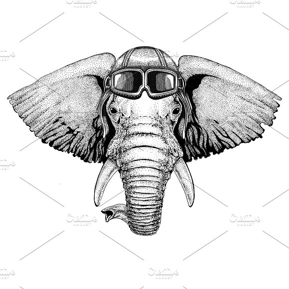 African or indian Aviator, biker, motorcycle Hand drawn illustration for tattoo, emblem, badge, logo, patch