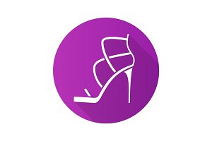High heel shoe flat design long shadow glyph icon