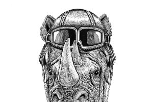Rhinoceros, rhino wearing leather helmet Aviator, biker, motorcycle Hand drawn illustration for tattoo, emblem, badge, logo, patch
