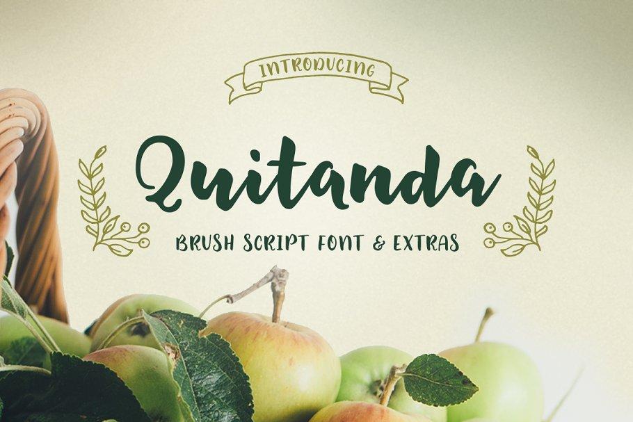 Quitanda -Brush Script Font & Extras ~ Script Fonts ~ Creative Market