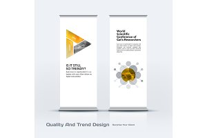 Abstract business vector set of modern roll Up Banner stand design template with colourful triangles
