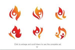 6 People Fire Logo Bundle