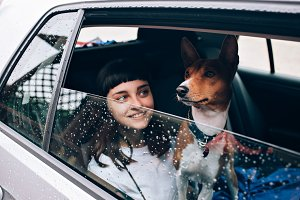 Woman and dog inside a car
