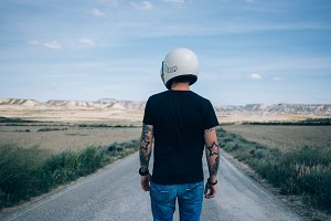 Man with vintage motorcycle helmet