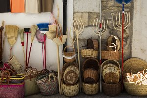 Traditional shop of wicker baskets a