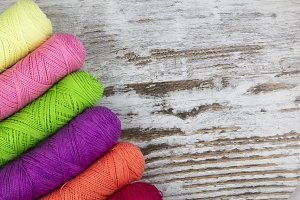 Colorful sewing threads