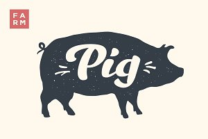 Isolated pig silhouette with lettering
