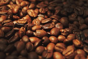 Roasted whole coffee beans.