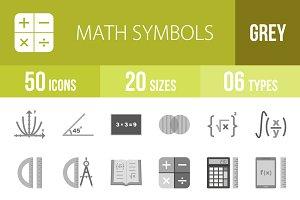 50 Math Symbols Greyscale Icons