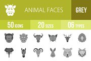 50 Animal Faces Greyscale Icons