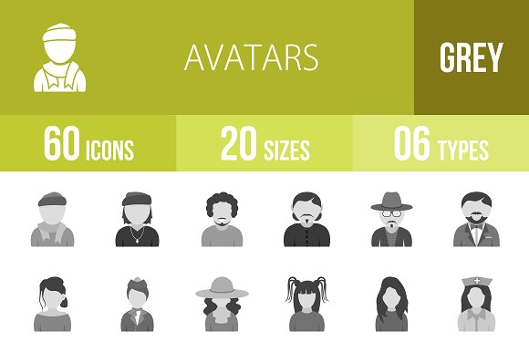 60 Avatars Greyscale Icons