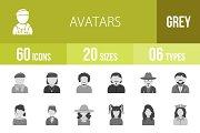 60 Avatars Greyscale Icons