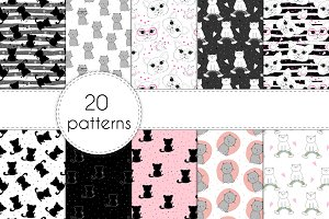 20 patterns with cute cats!