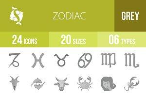 24 Zodiac Greyscale Icons