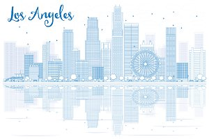 Outline Los Angeles skyline