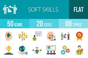 50 Soft Skills Flat Multicolor Icons