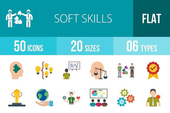 50 Soft Skills Flat Multicolor Icons