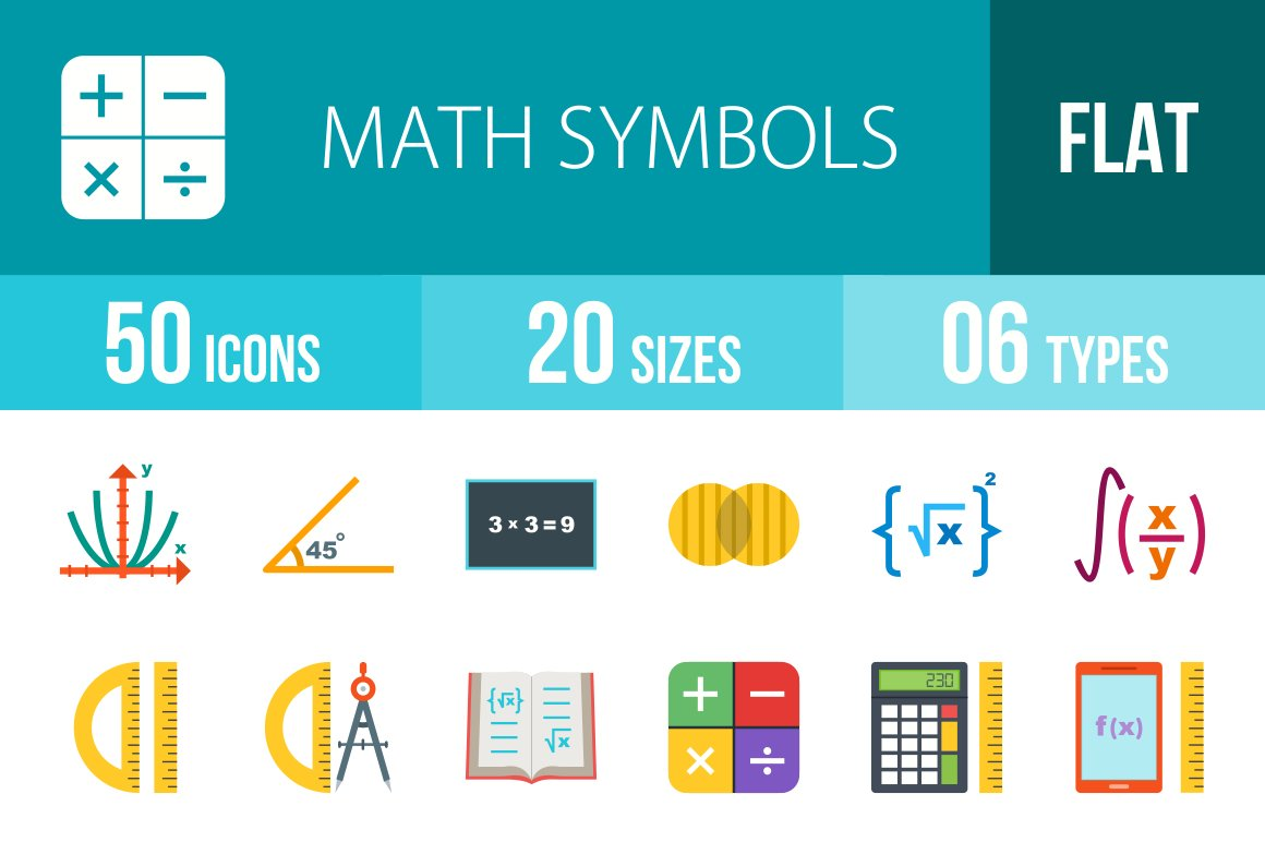 50 math symbol flat multicolor icons icons creative market biocorpaavc Images