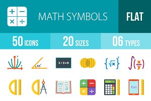 50 Math Symbol Flat Multicolor Icons